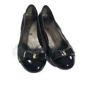 Cole Haan Black Leather Elise Bow Ballet Flat